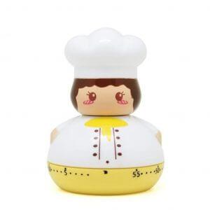 Minuteur en forme de chef de cuisine jaune