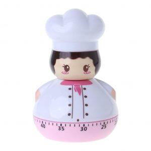 Minuteur en forme de chef de cuisine rose