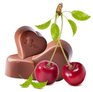 Cerises et chocolat en coeur
