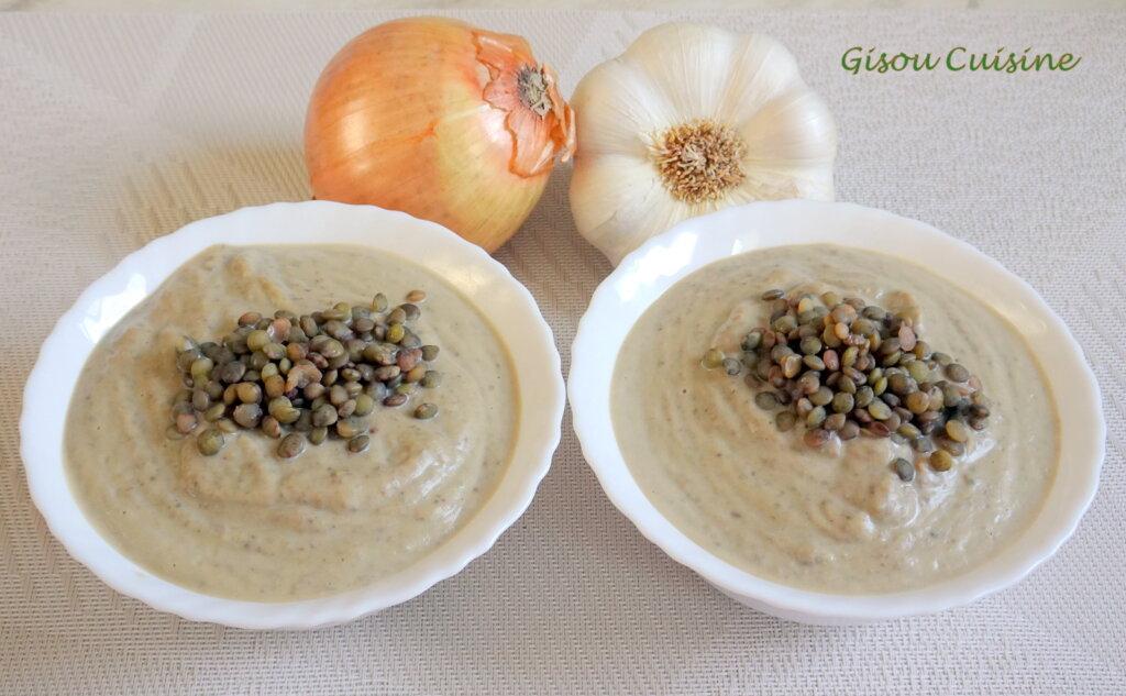 crème de lentille avec oignon et ail