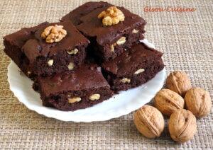 Brownies chocolat noir haricots rouge et noix